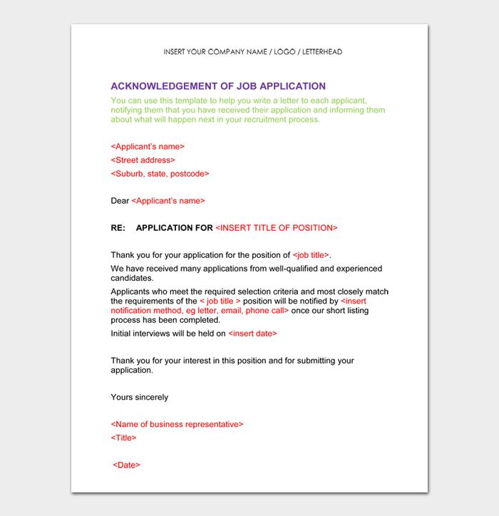 ACKNOWLEDGEMENT OF JOB APPLICATION