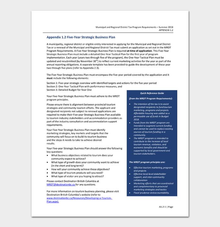 Appendix 1.2 Five Year Strategic Business Plan