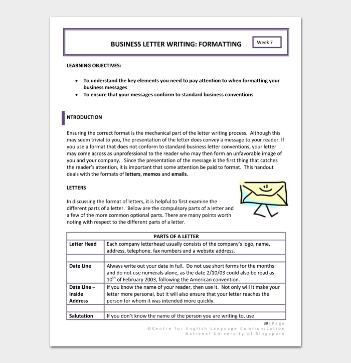 BUSINESS LETTER WRITING FORMATTING