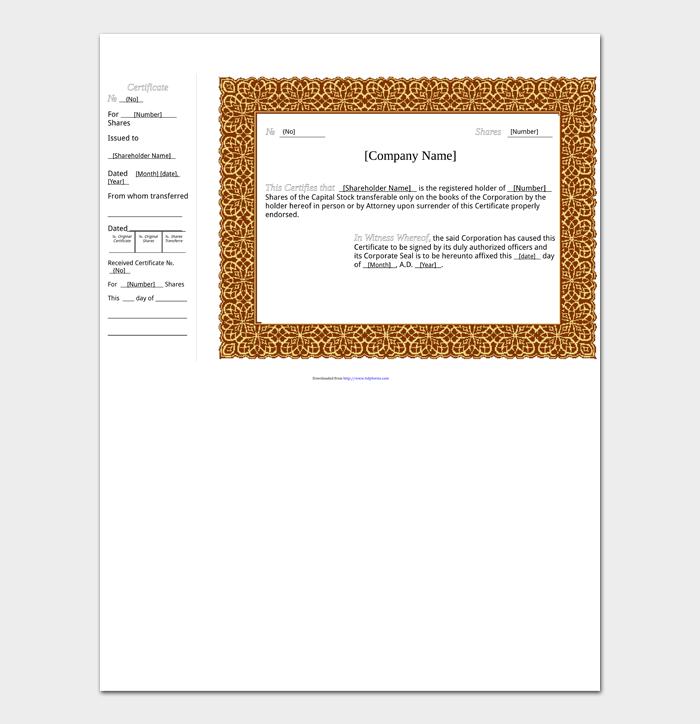 Blank Stock Certificate Templates #01