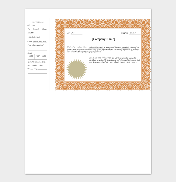 Blank Stock Certificate Templates #03