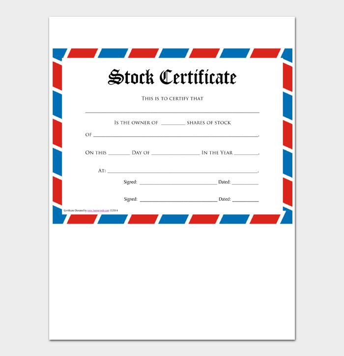 Blank Stock Certificate Templates #10