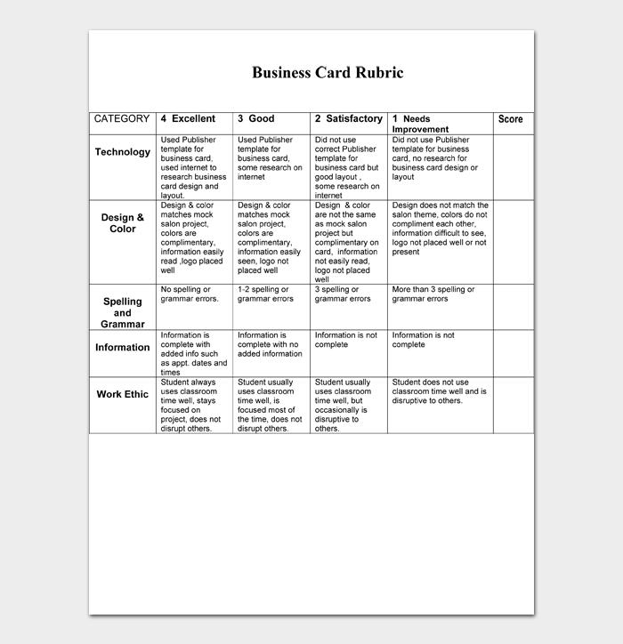 Business Card Rubric