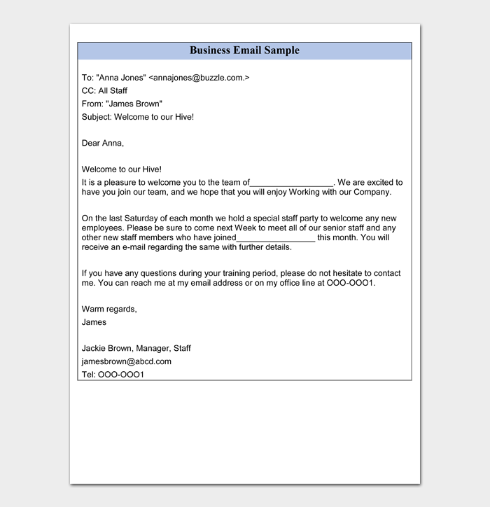 Business Email Sample