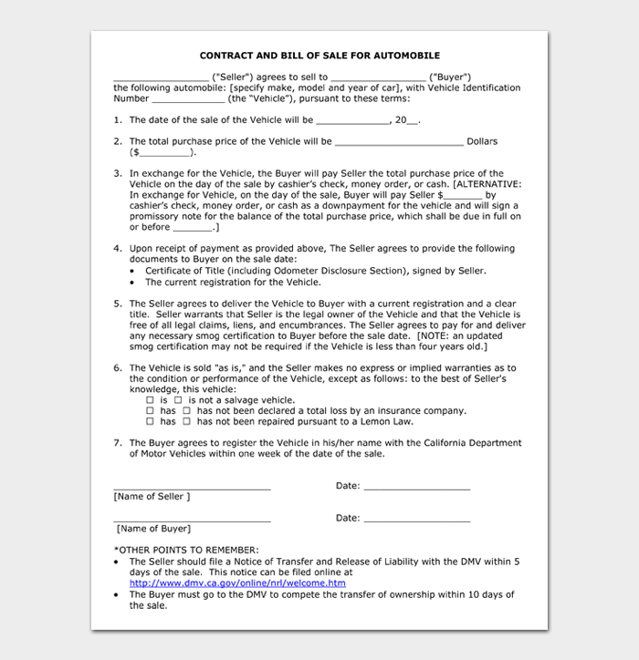 CONTRACT AND BILL OF SALE FOR AUTOMOBILE
