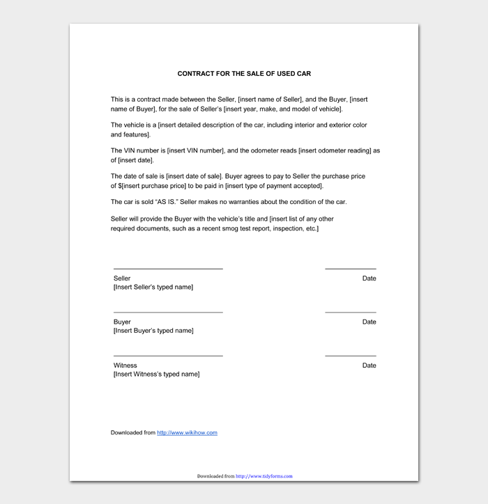 CONTRACT FOR THE SALE OF USED CAR