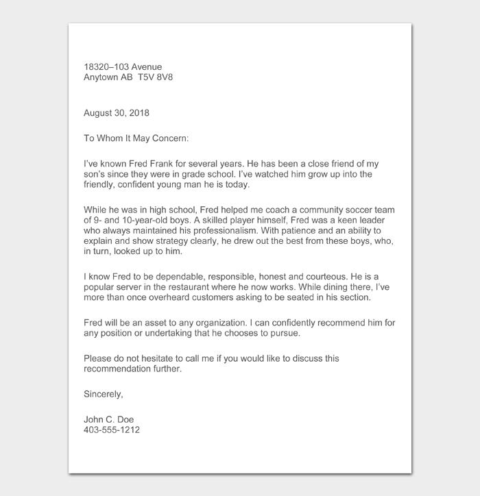 Character Witness Letter #07