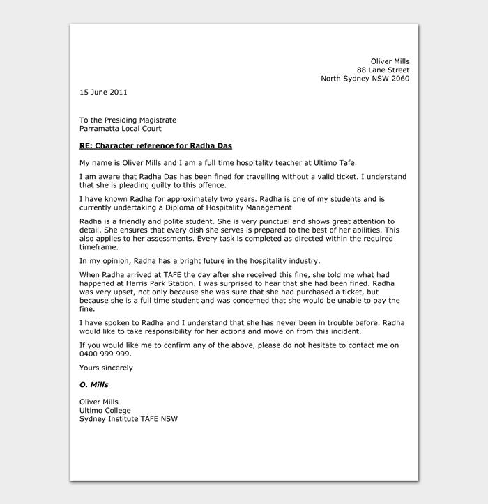Character Witness Letter #10