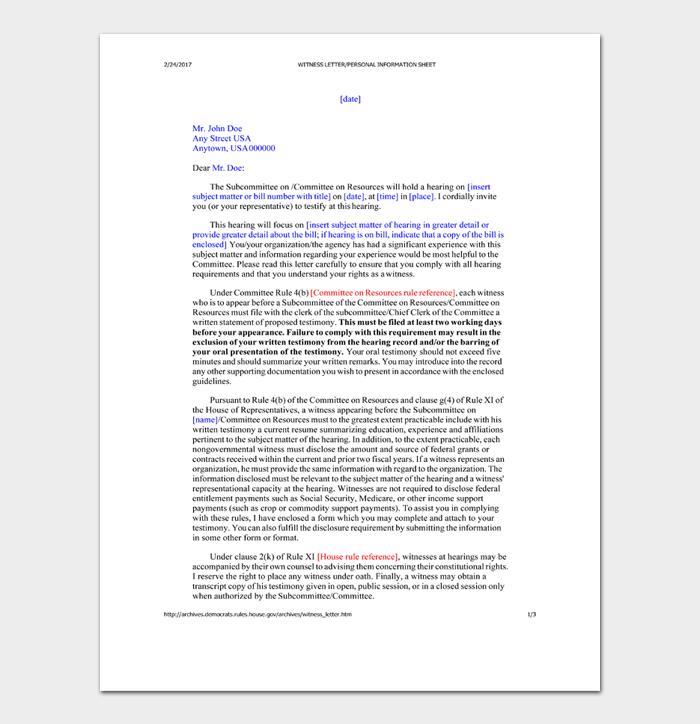 Character Witness Letter #16