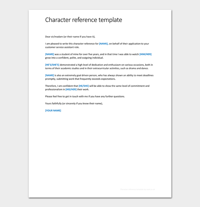 Character reference template