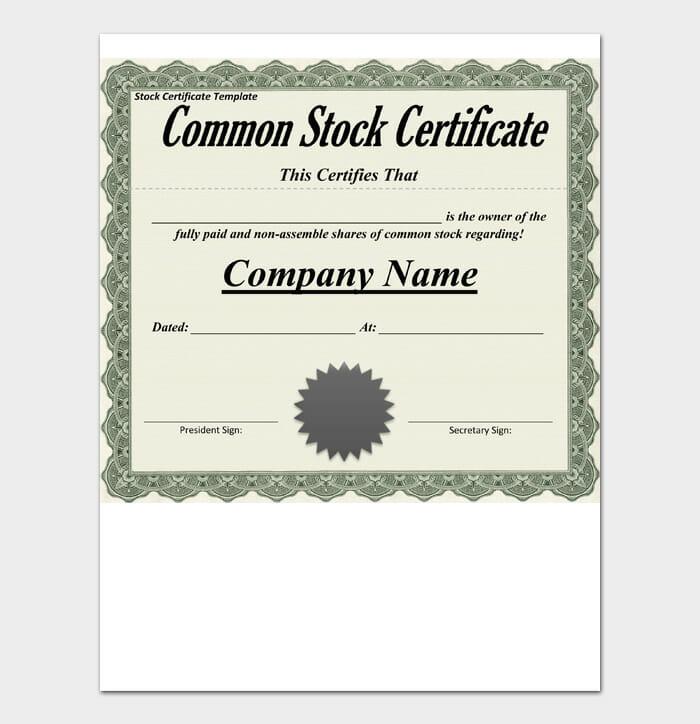 Common Stock Certificate