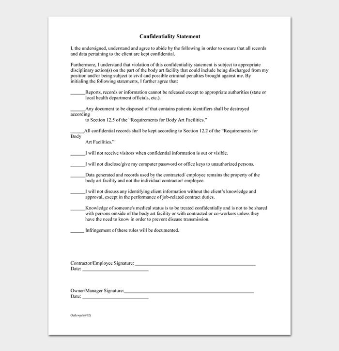 Confidentiality Statement #06