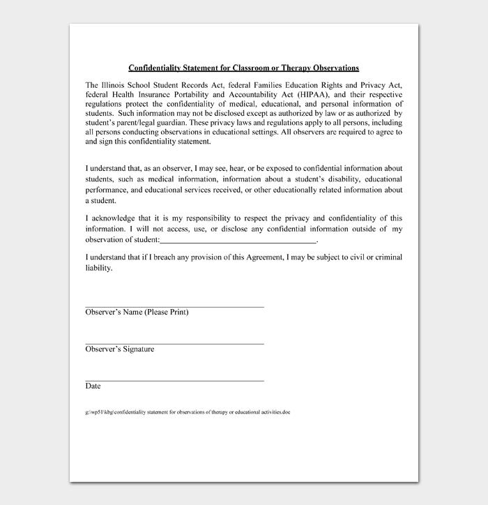 Confidentiality Statement #10