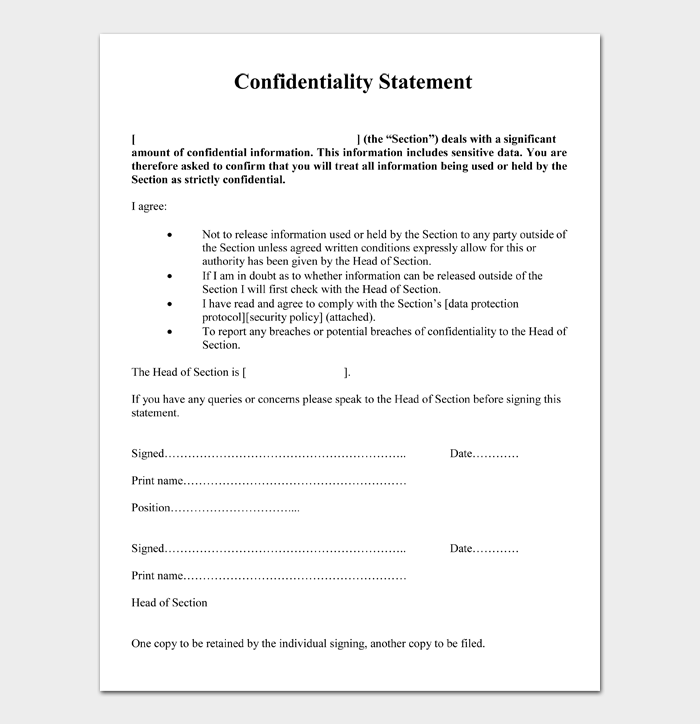 Confidentiality Statement #11