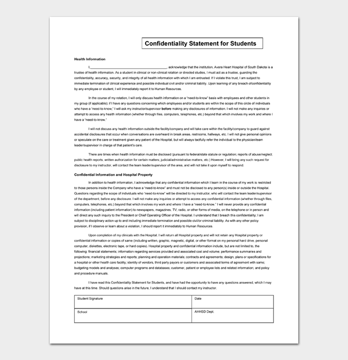 Confidentiality Statement for Students