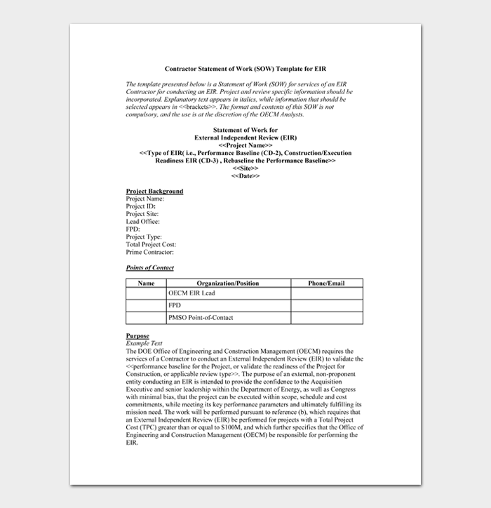 Contractor Statement of Work (SOW) Template for EIR
