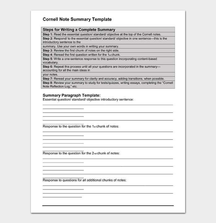 Cornell Note Summary Template