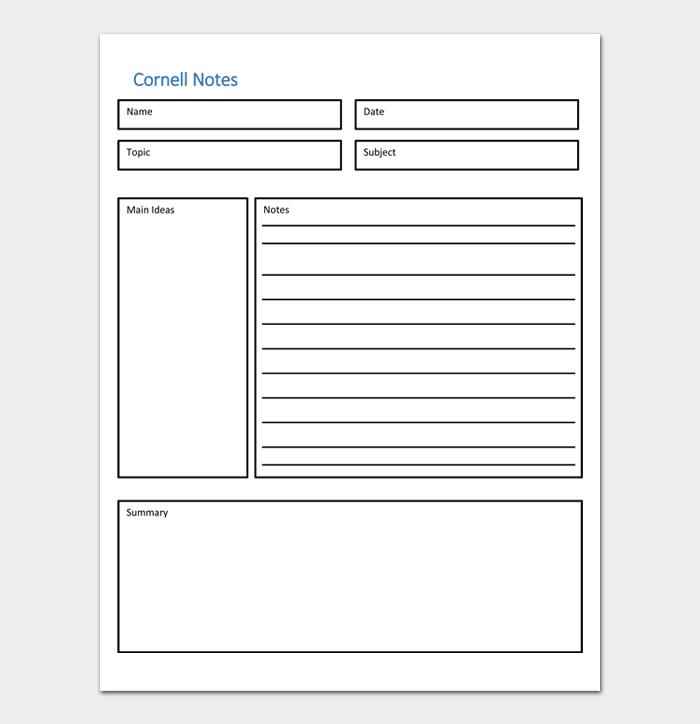 Cornell Notes Template #02