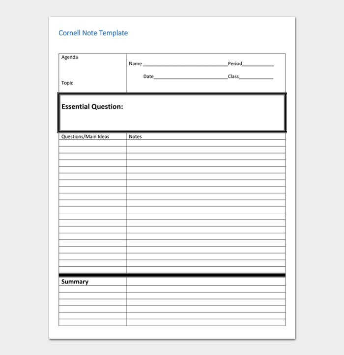 Cornell Notes Template #03