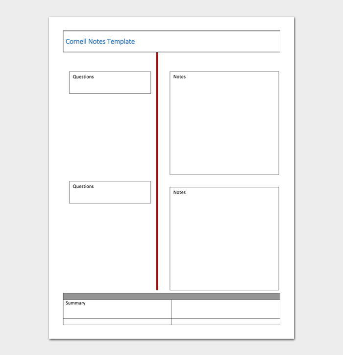 Cornell Notes Template #06