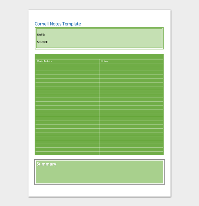 Cornell Notes Template #07