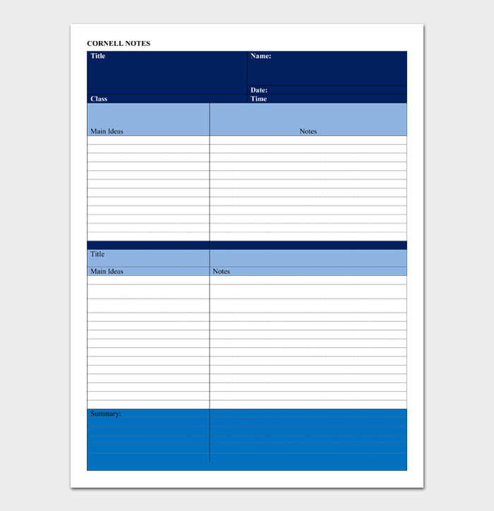 Cornell Notes Template #08