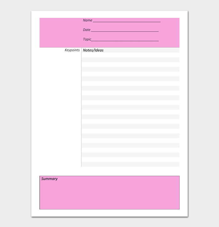 Cornell Notes Template #09