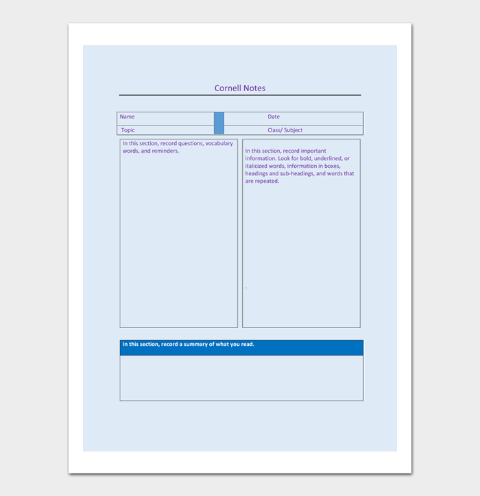 Cornell Notes Template #10