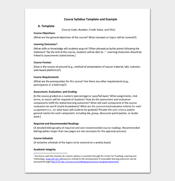 Course Syllabus Template and Example