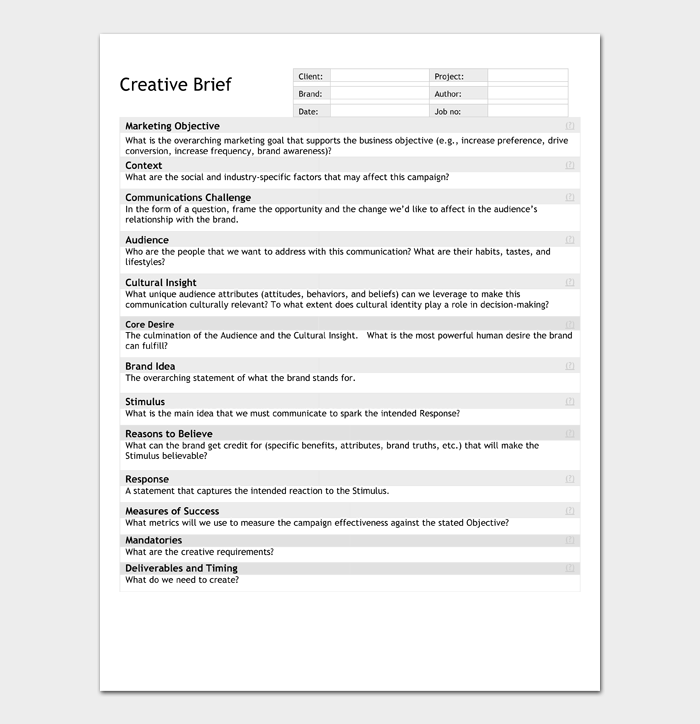 Creative Brief Template #01