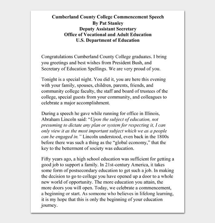 Cumberland County College Commencement Speech