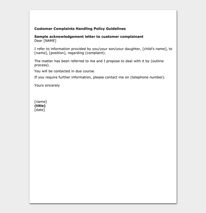 Customer Complaints Handling Policy Guidelines