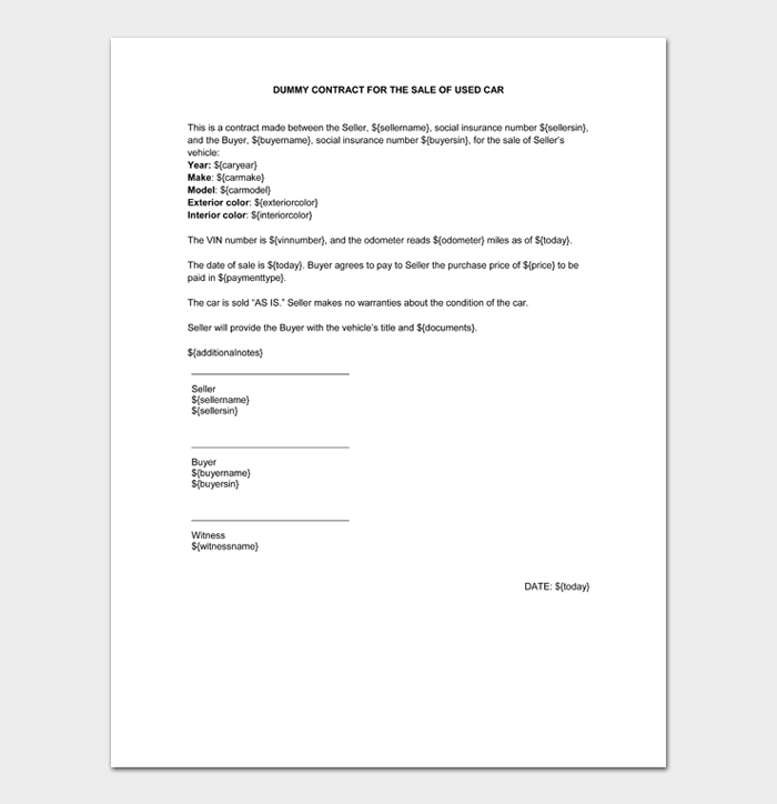 DUMMY CONTRACT FOR THE SALE OF USED CAR