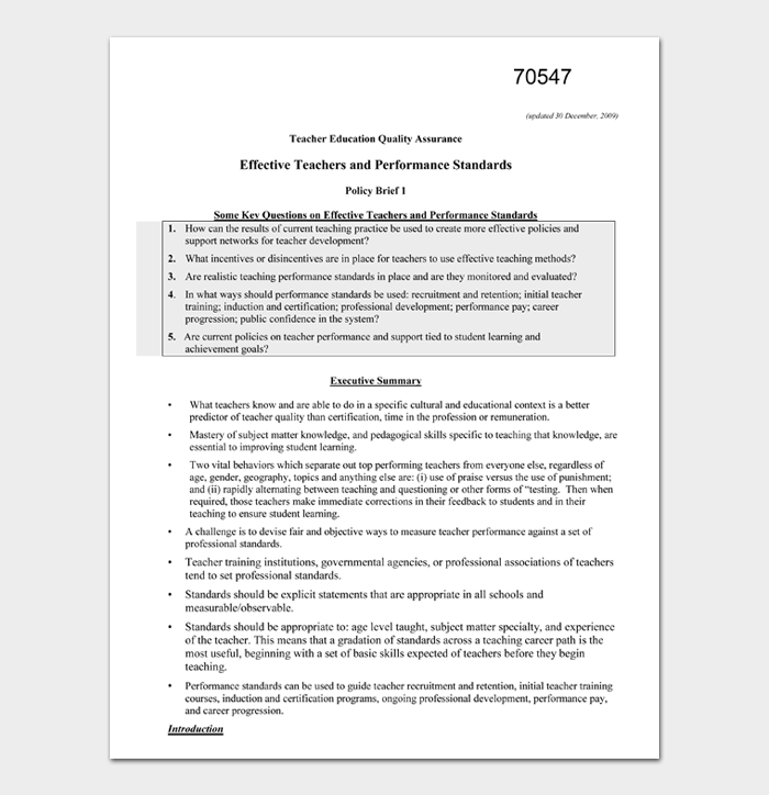 Effective Teachers and Performance Standards