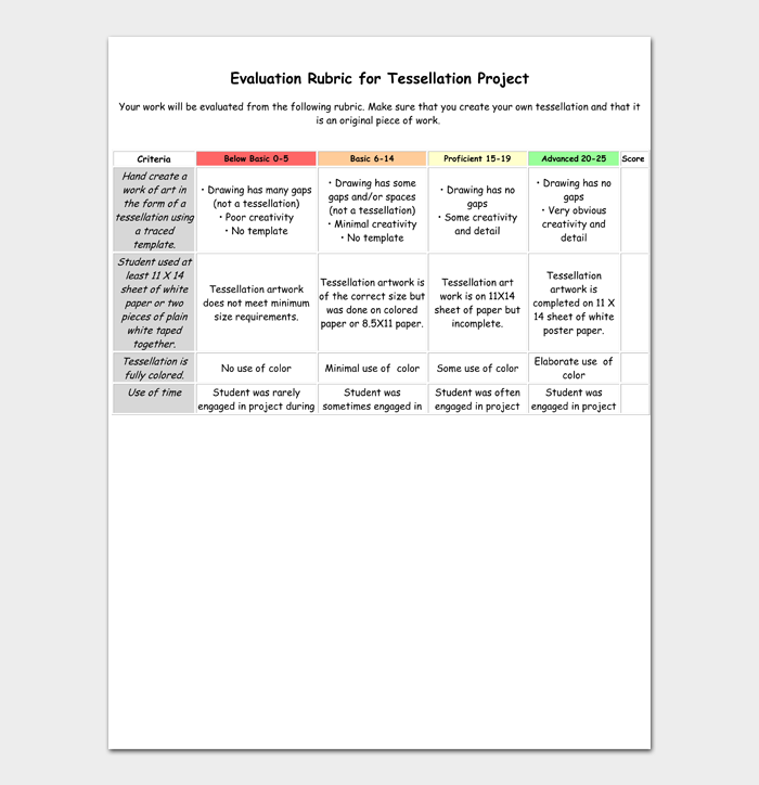 Evaluation Rubric for Tessellation Project