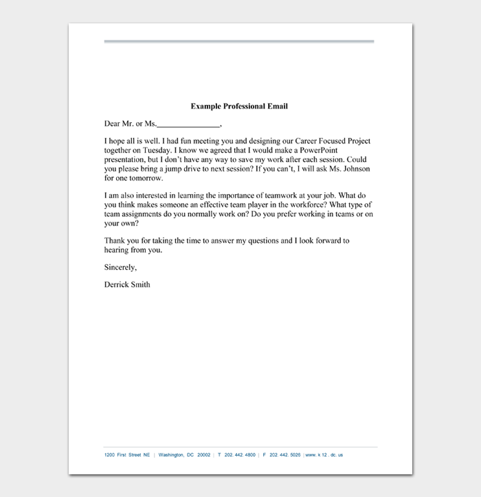 Example Professional Email