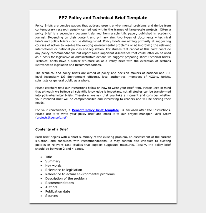 FP7 Policy and Technical Brief Template