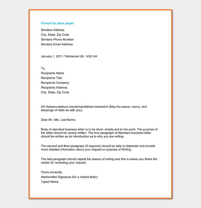 Format for plain paper
