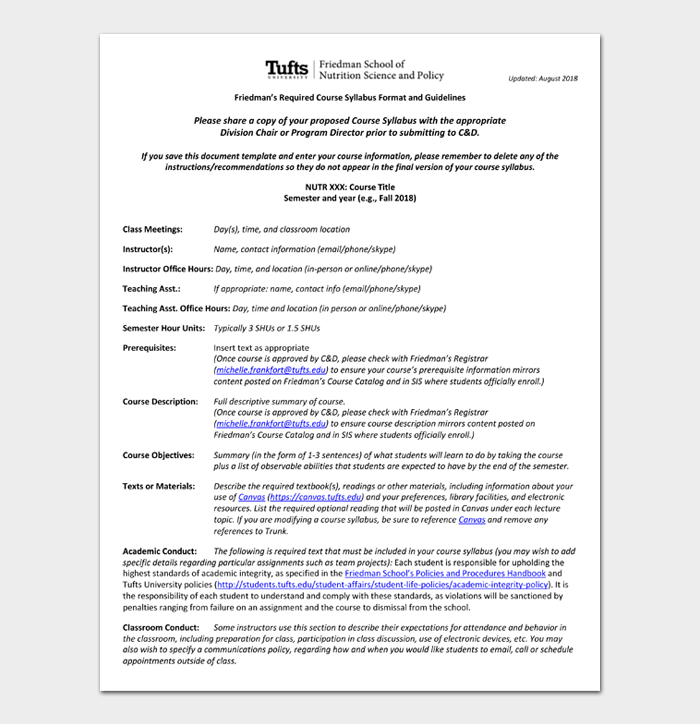 Friedman's Required Course Syllabus Format and Guidelines
