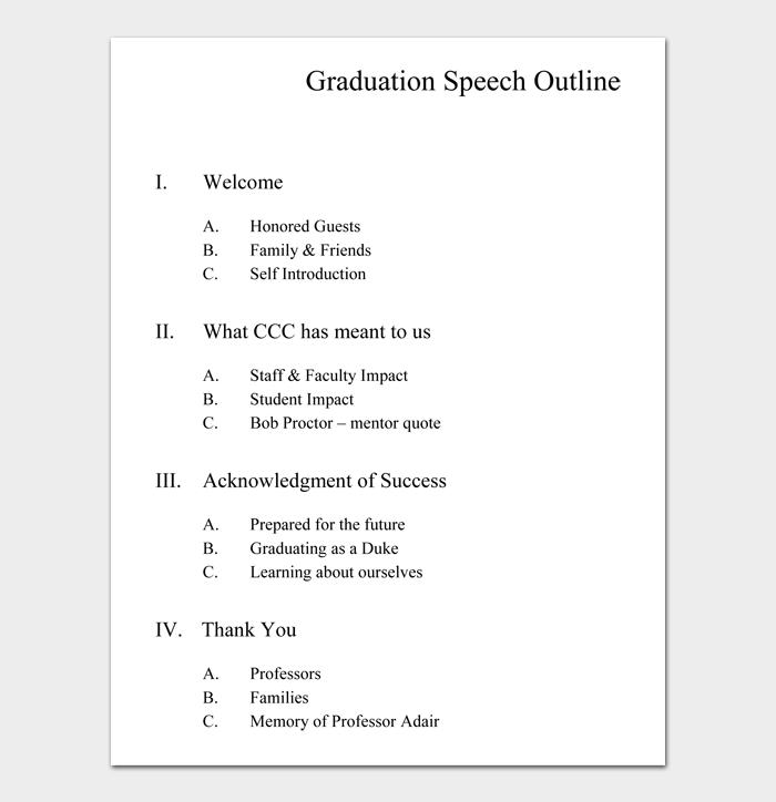 Graduation Speech Outline