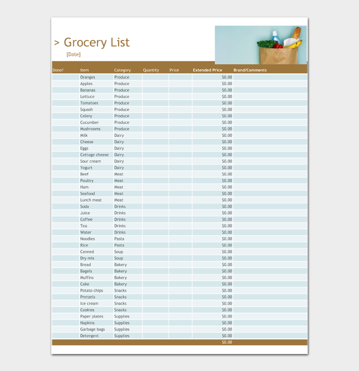 Grocery List Template #02
