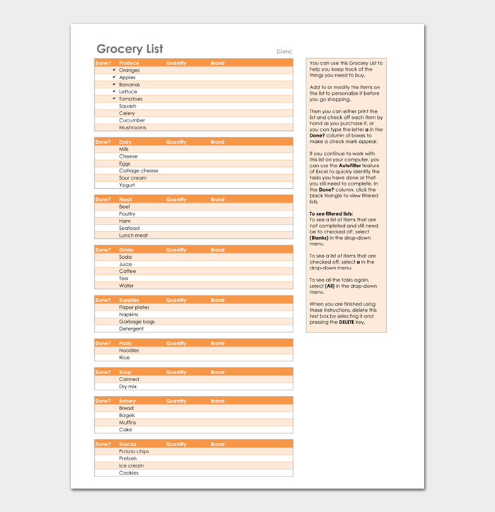 Grocery List Template #03