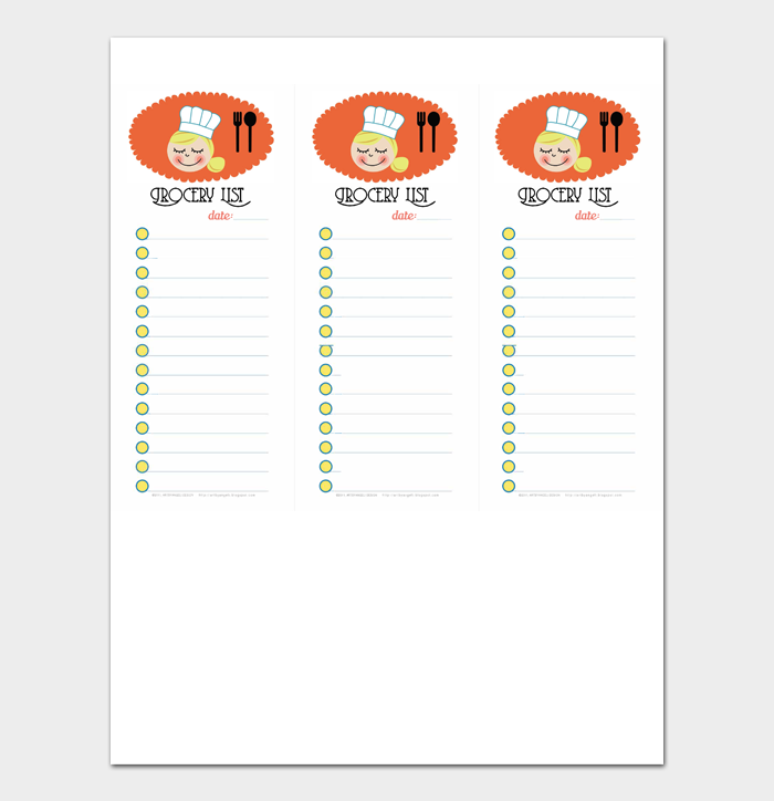 Grocery List Template #06