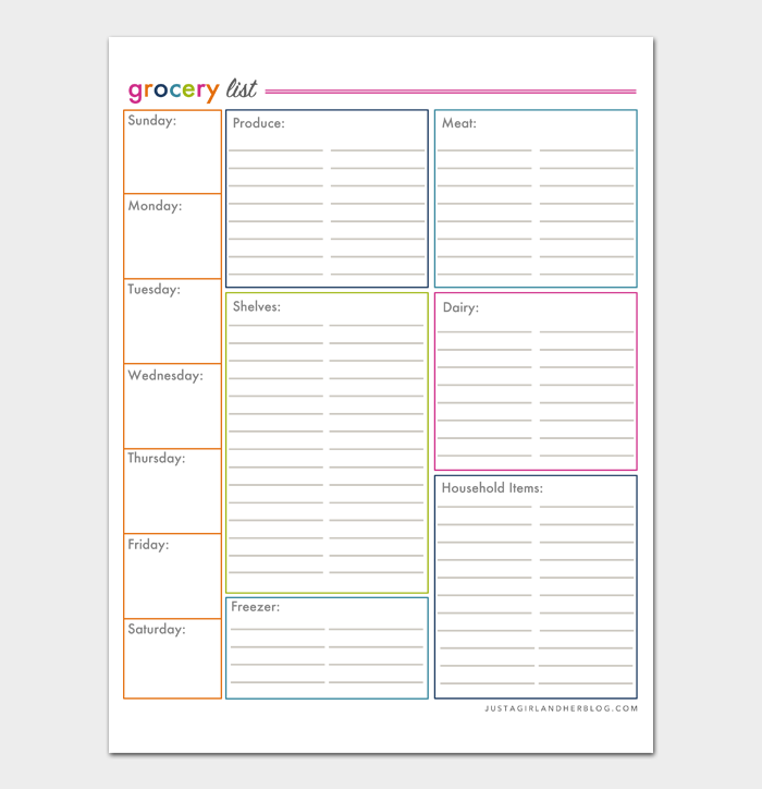 Grocery List Template #07