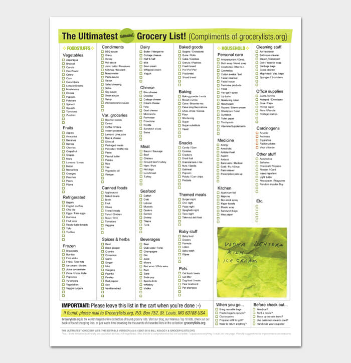 Grocery List Template #09