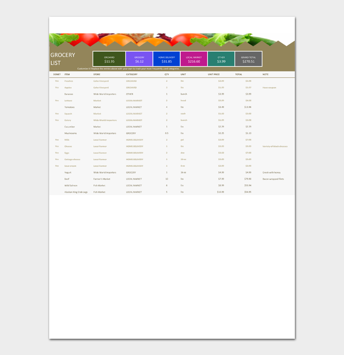 Grocery List Template #11