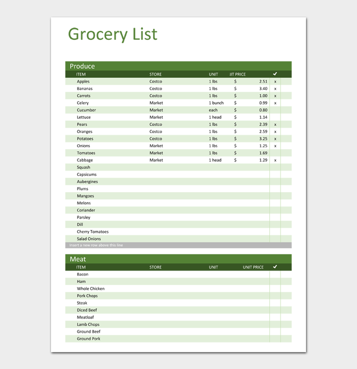 Grocery List Template #12