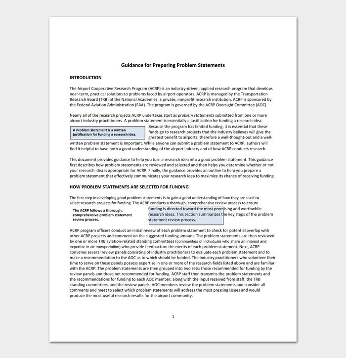 Guidance for Preparing Problem Statements