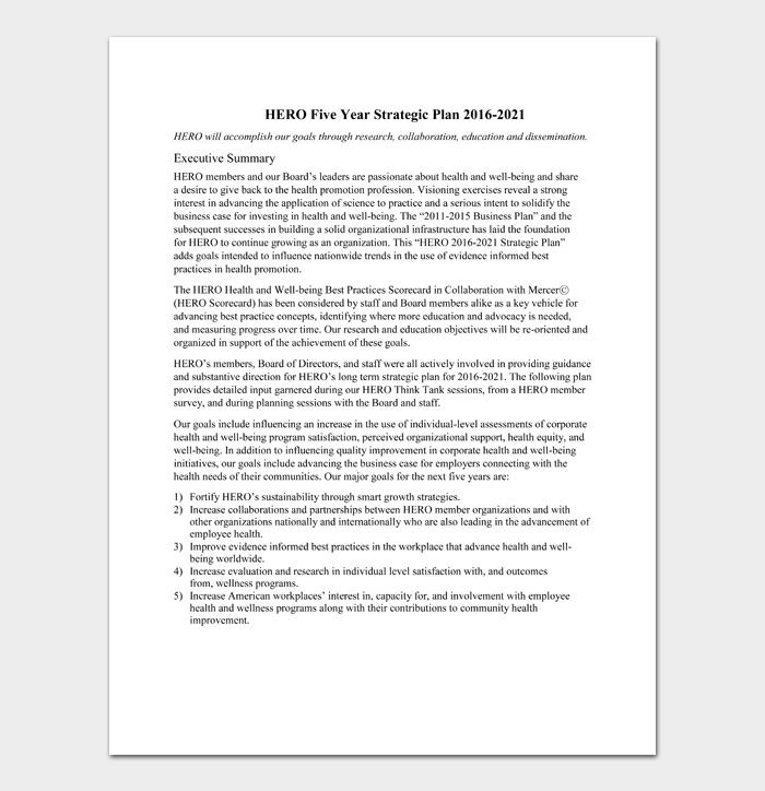 HERO Five Year Strategic Plan 2016 2021