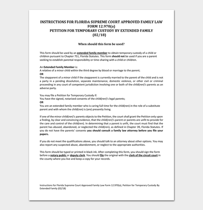 INSTRUCTIONS FOR FLORIDA SUPREME COURT APPROVED FAMILY LAW
